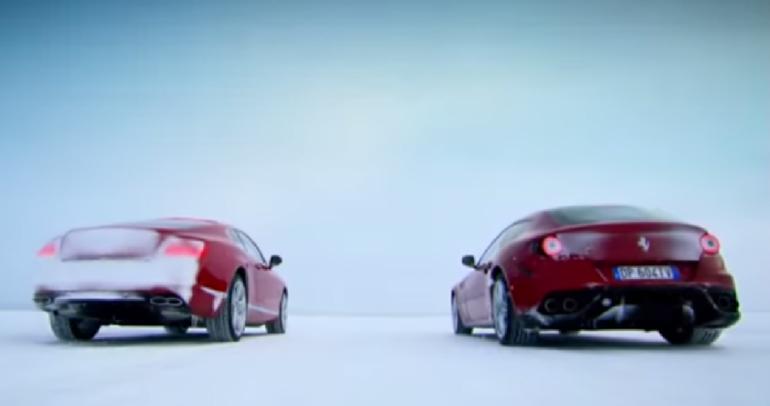 بالفيديو: سباق يخطف الأنفاس بين فيراري وبنتلي على الثلوج البيضاء!