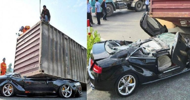 سيارة أودي تتحطم بالكامل.. فماذا حدث للسائق؟