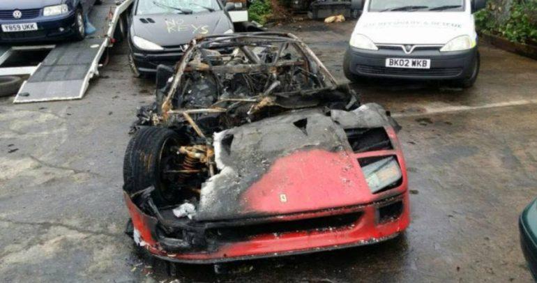 فيراري F40 تحترق بعد عملية ترميم كاملة في المملكة المتحدة