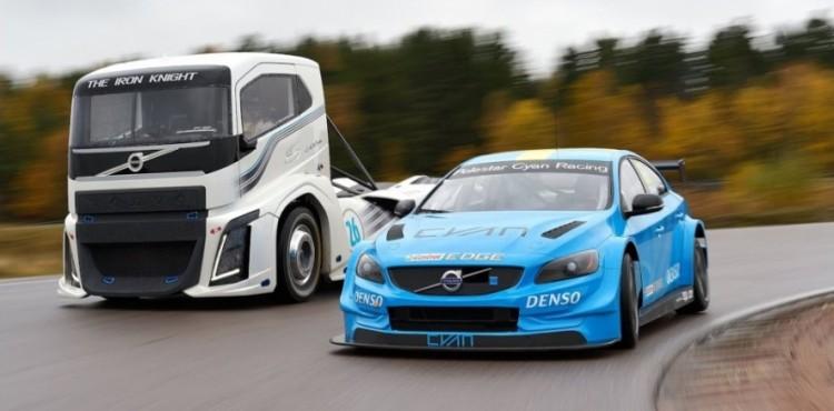 شاحنة فولفو تتحدى سيارة السباق S60 بولستار.. من الرابح؟