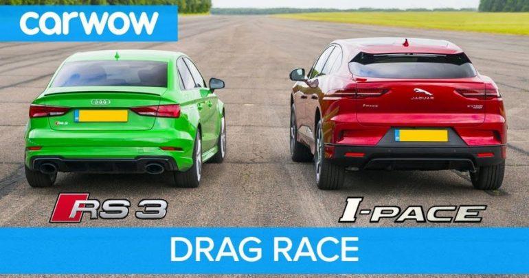أودي RS3 بمواجهة جاكوار I-pace في تحدي انطلاق فريد