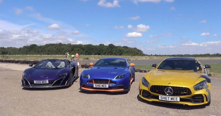 أستون مارتن فانتاج GT8 ومرسيدس-بنز AMG-GTR وماكلارين 675 LT بتحدي إنطلاق مثير
