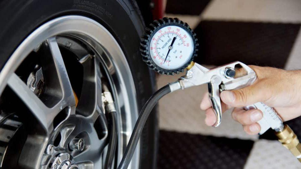 pressure of the car wheels