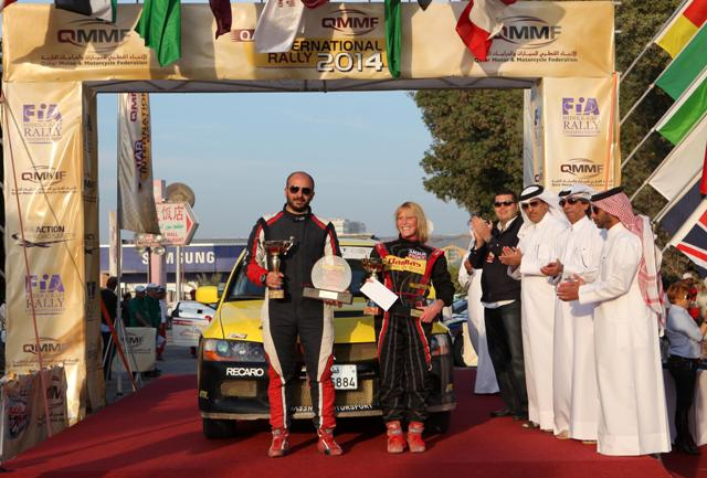Edith Weiss at the finish of the Qatar International Rally last year..jpg