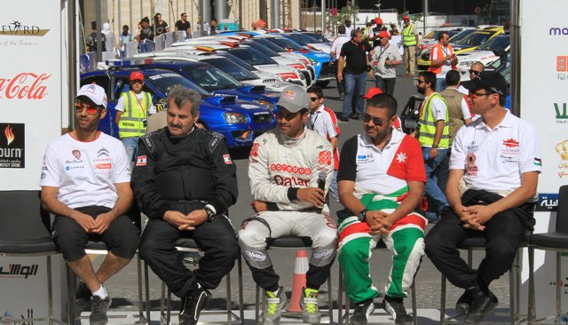 Pre-event Q&A session with several drivers on the podium at the Jordan Rally..jpg